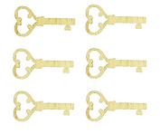 Heart Key Shape Unfinished Wood Craft Cut Outs 7.6cm Inch 6 Pieces HKEY-06