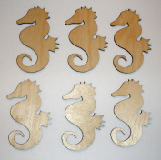 Seahorse Cut Outs Unfinished Wood Mini Seahorses 7.6cm Inch 6 Pieces SEAH-06
