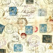Freespirit Fabrics Eclectic Elements-Tim Holtz 110cm Wide Correspondence 100-Percent Cotton, Taupe, 8-Yard