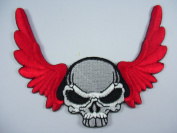 Red-White Skull Iron on Embroidered Patch