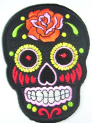 Black Skull Awesome Iron on Embroidered Patch