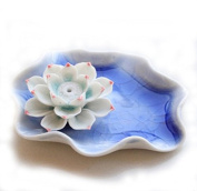 ieasysexy Elegant Lotus Flower Ceramic Incense Burner Handmade Cracked Ice Beauty Blue and White Porcelain Charms Holder