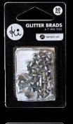 Ki Memories Mini Glitter Brads - Silver