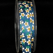 Blue, Green, Yellow and White Summer Flowers Satin Craft Ribbon 1.6cm x 54 Yards
