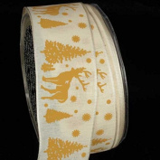 Wonderful Cream and Ivory Stag Wired Craft Ribbon 3.8cm x 27 Yards