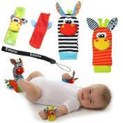 Estone® Animal Infant Baby Kids Wrist Rattle & Foot Finder Set Developmental Soft Toys