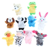 Lalang Soft Plush Animal Finger Puppet toys Set Elephant, Panda, Duck, Rabbit, Frog, Mouse, Cow, Bear, Dog, Hippo Style