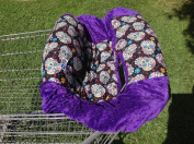 """Shopping Cart Cover """"Purple and Flower Skulls"""""""