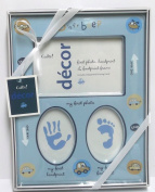 Cudlie! Decor Baby Boy's First Photo Handprint Footprint Frame