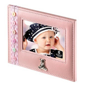 Pink Leather Photo Frame w/ Decorative Botton