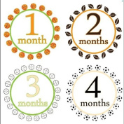 Monthly Stickers Baby Month Stickers Baby Boy Monthly Stickers Monthly Baby Boy Sport Stickers Sports Collection For Boys Baseball Basketball Football Soccer tennis WATERPROOF Baby Shower Gift