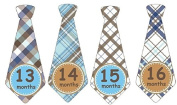 13-24 Months Monthly Baby Stickers Monthly Tie Stickers Second Year Boy Necktie Monthly Baby Boy Tie Stickers UNCUT Boy Ties- Navy, Aqua, Tan, White, Brown, Blue - Argyle, Plaid, Stripes, Dots, Gingham Plaids- Baby Month Sticker