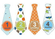 Monthly Baby Boy Tie Stickers Neck Ties Necktie Flying Pilots Aeroplanes Clouds Stripes Dots Argyle UNCUT