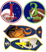 Mumsy Goose Baby Boy Stickers Monthly Age Stickers 1-12 Months Uncut Ties and Circles