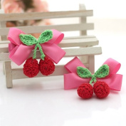 Cici Girl 2pc Grosgrain Ribbon with Wool Cherry Bows Hair Clips Pins Set
