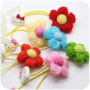 Cici Girl 5pc Mixed Colour Hello Kitty and Floral Wool Ponytail Holders