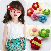 Cici Girl 6pc Mixed Colour Wool Floral Hair Clips Pins Set