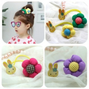 Cici Girl 4pc Mixed Colour Rabbit and Floral Ponytail Holders Set