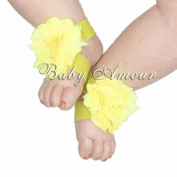 8# Hot Baby Girls Shabby Chiffon Barefoot Rose Flower Sandals Shoes Toe Blooms