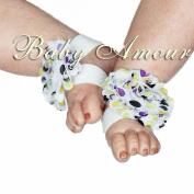 4# Hot Baby Girls Shabby Chiffon Barefoot Rose Flower Sandals Shoes Toe Blooms