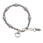Girls Sterling Silver Cultured Pearl Bracelet with Lavender Crystals and Heart Charm