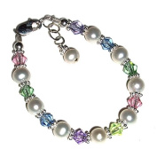 Girls Sterling Silver Pearl Bracelet with Pastel Crystals for Flower Girls, Birthday Gifts for Girls
