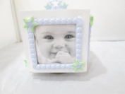 First Impressions Blue Cube Frame Baby Boy with Stars