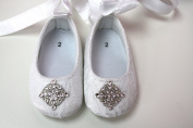 Gorgeous and Stunning Lace Baby Girl Crib Shoes White and Pink