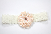 Ivory Stretch Lace Headband with Peach Flower