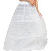 Micromall Nylon 3 Hoop 2 Layer Wedding Bridal Gown Dress Underskirt Petticoat , White