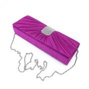 Elegant Classic Pleated Satin Flap Rhinestones Clutch Evening Bag - Diff Colours