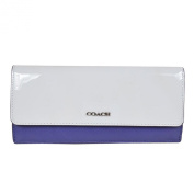 COACH 51475 Soft Wallet in Colorbock Mixed Leather in Silver Blue