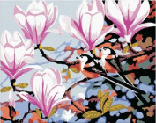 Diy home decor digital canvas oil painting by number kits Pink Flowers 16*50cm .