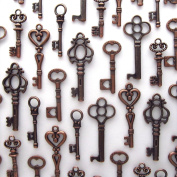 Skeleton Key Charm Set in Antique Copper (48 Charms) 6 Different Styles - Vintage Style Key Charms