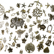 About 100 pcs Mixed antique Bronze assorted mix tibetan charms, pendants, elephants, birds, hearts, Tree of life, Keys, ocean life