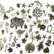 About 100 pcs Mixed antique Bronze assorted mix tibetan charms, pendants, elephants, birds, hearts, Tree of life, Keys, ocean life