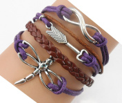 Handmade Infinity Dragonfly Arrow Charm Friendship Gift Fashion Jewellery Personalised Leather Bracelet