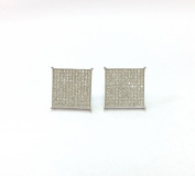 Mens SILVER 16mm 14K WHITE Gold Plated Cz Micro Pave BIG SIZE SQUARE Stud Earrings WITH PUSH BACK