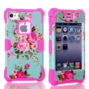 Rosepark(TM)Fashion 3 In 1 Luminous Hybrid Silicone High Impact Hard Glow in Dark Flowers Pattern Cover Case for Iphone4 4G 4S(Hot Pink), With Screen Protector, Stylus Pen and Cleaning Cloth