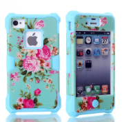 Rosepark(TM)Fashion 3 In 1 Luminous Hybrid Silicone High Impact Hard Glow in Dark Flowers Pattern Cover Case for Iphone4 4G 4S(Blue), With Screen Protector, Stylus Pen and Cleaning Cloth