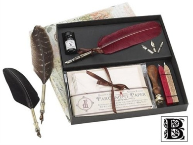 Parchment feather quill ink set with initial wax seal for Quilling kitchen set