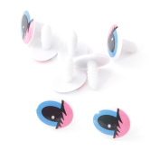 100x Plastic Pink Blue Cartoon Cute Animal Doll Oval Eyes TOY Find DIY 20 Mm NEW