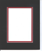 Pack of 5 11x14 Black & Bright Red Double Picture Mats Cut for 8x10 Pictures