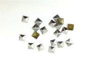 Nicedeco - DIY Accessories Flatback Glue On Pyramid Studs 100pcs 7MM SILVER Hotfix Iron On Metal Punk Stud Rivet Spike CellPhone Decoration Leathercraft
