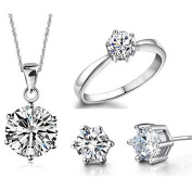 Wedding Jewellery Set Shinning Zircon Ring + Stud Earring + Necklace Pendant by TJSpecia
