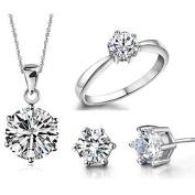 Wedding Jewellery Set Shinning Zircon Ring + Stud Earring + Necklace Pendant by TJSpecia
