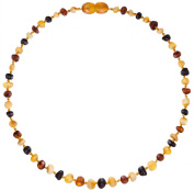 Raw Baltic Amber Teething Necklaces For Babies (Unisex) - Anti Flammatory, Drooling & Teething Pain Reduce Properties - Multi 4 Colours UNPOLISHED Natural Certificated Oval Baltic Jewellery with the Highest Quality Guaranteed. Easy to Fastens with a Tw ..
