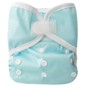 """Kawaii Baby One Size hook and loop Cloth Nappy Cover for Prefolds """" Light Blue """""""
