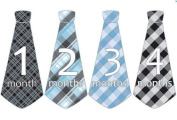 Monthly Baby Boy Tie Stickers Neck Ties Necktie Argyle Gingham Plaids Black Blues