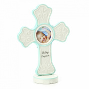 Nat and Jules Baby's Baptism Cross Frame, Blue
